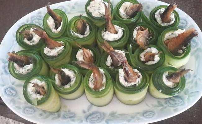 Роллы из огурца со шпротами – интересный пошаговый рецепт
