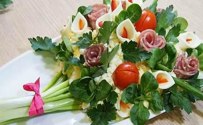 Вкусный новый рецепт салата на 8 Марта «Букет цветов»