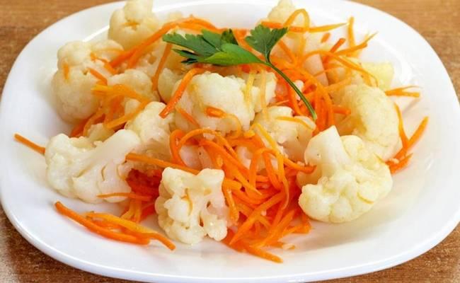 Морковь с цветной капустой по-корейски