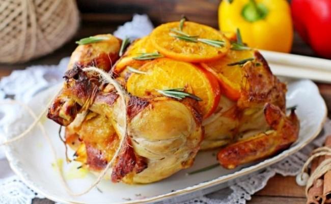 курица с апельсинами фаршированная