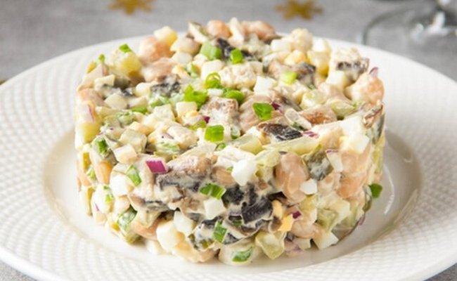 оливье с грибами без колбасы