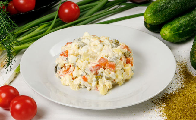 салат оливье без картошки и горошка