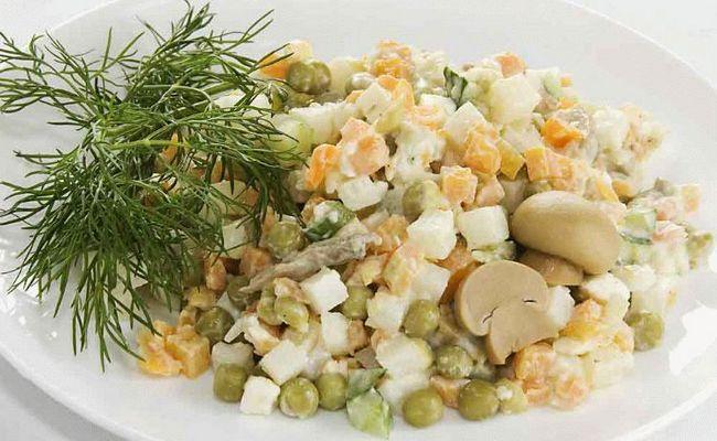 Оливье без моркови с говядиной и грибами
