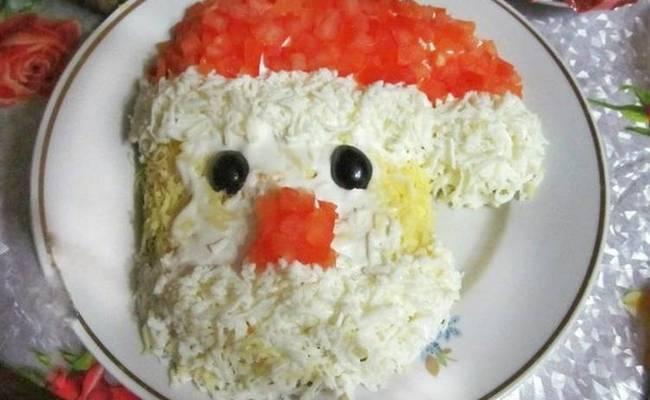 салат дед мороз с окорочком