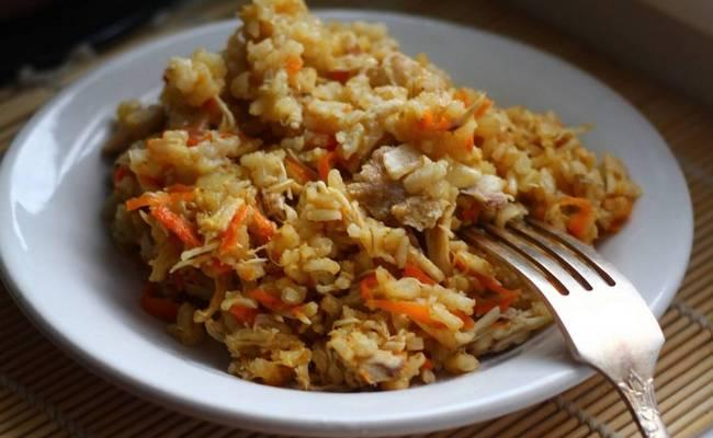 Бурый рис с курицей в мультиварке