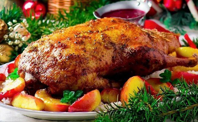гусь на Рождество с апельсинами