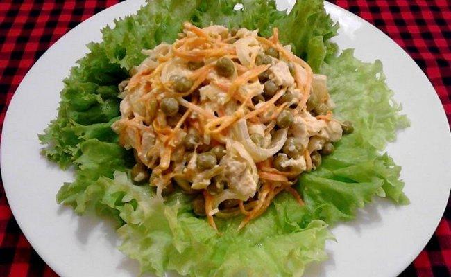 Классический рецепт салата Купеческий со свининой