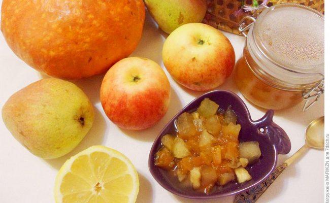 """Варим варенье из яблок и тыквы с добавлением груш и орехов на зиму """"Янтарное"""""""